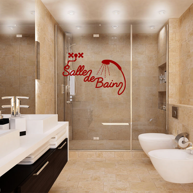 Sticker salle de bain douche stickers salle de bain mur for Douche de salle de bain
