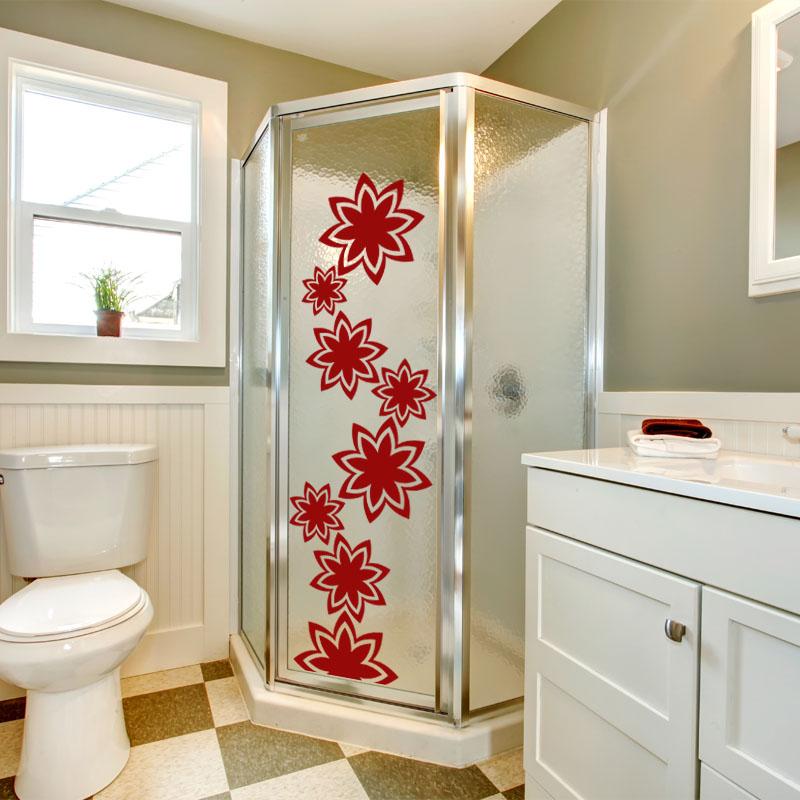 Sticker salle de bain fleurs stickers nature fleurs - Stickers muraux pour salle de bain ...