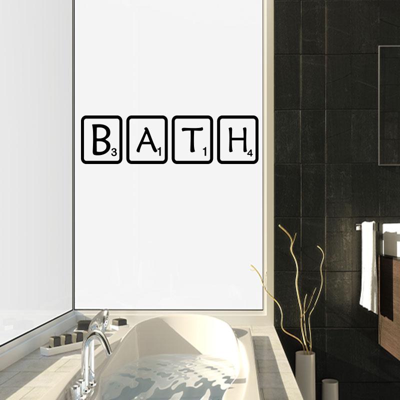 Sticker salle de bain scrabble bath stickers citations - Stickers muraux pour salle de bain ...