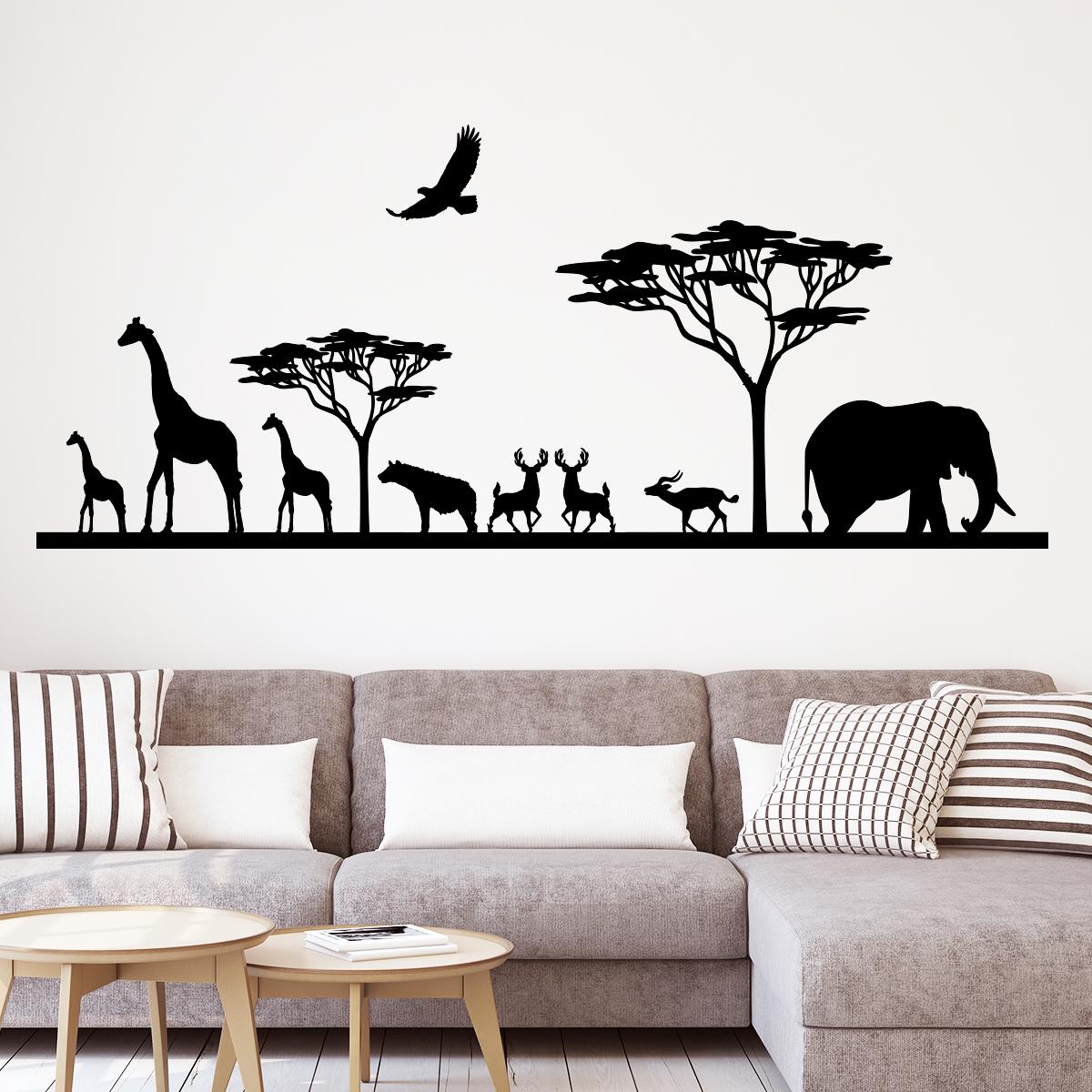 Sticker savane africaine et ses animaux stickers animaux - Animaux savane africaine ...