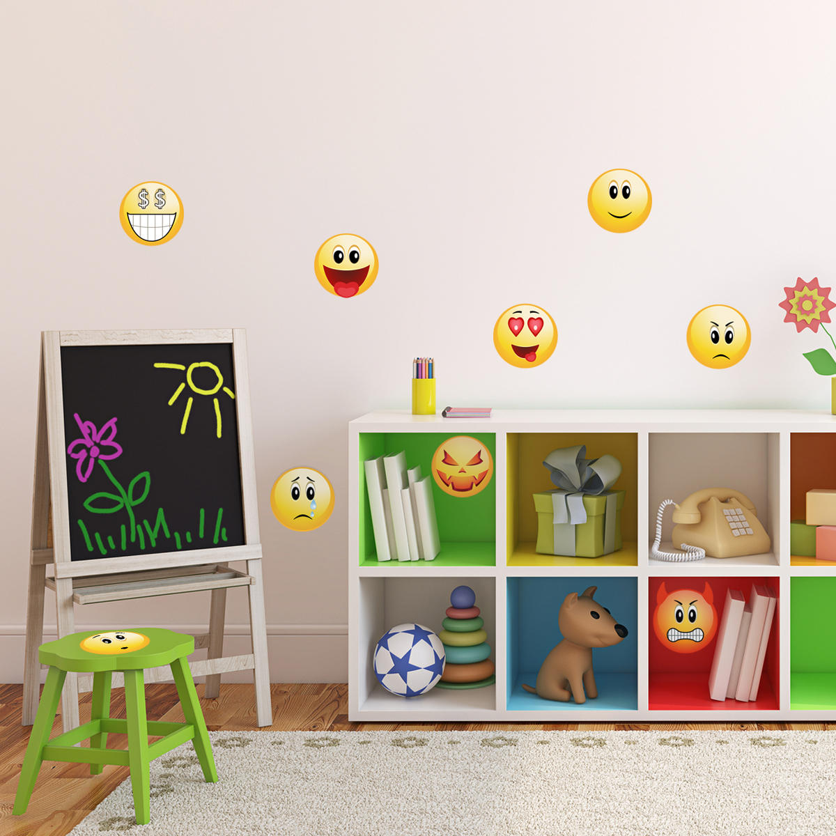stickers muraux pour les enfants sticker smileys pack 2. Black Bedroom Furniture Sets. Home Design Ideas