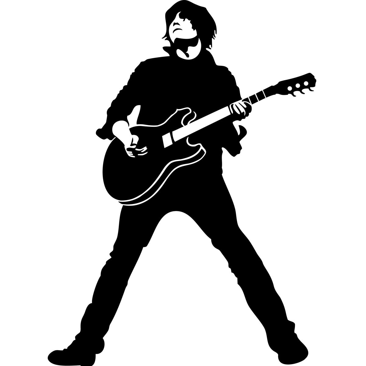 Rock guitarist silhouette