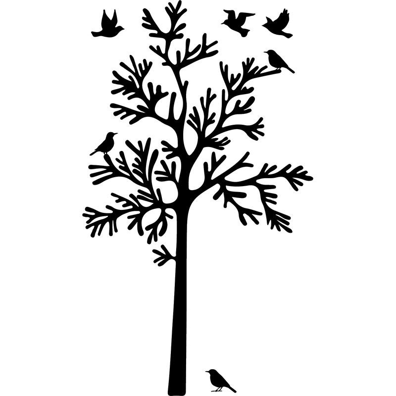 Sticker silhouette oiseaux autour d 39 un arbre stickers for Bordure autour d un arbre