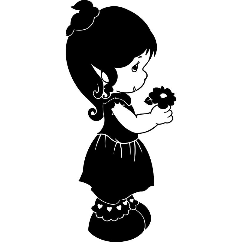 sticker silhouette petite fille et fleurs stickers nature fleurs ambiance sticker. Black Bedroom Furniture Sets. Home Design Ideas