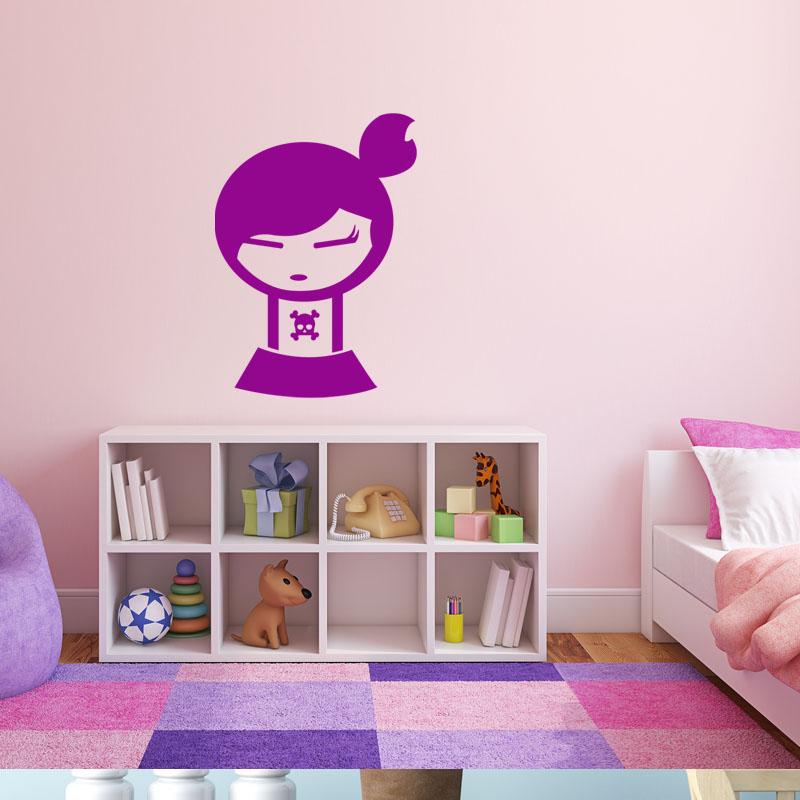 Sticker silhouette rebelle petite fille stickers chambre for Stickers muraux chambre ado fille