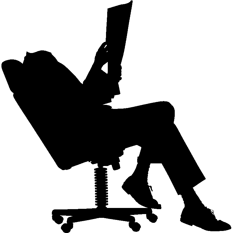 sticker silhouette sur une chaise de bureau mini stickers geek ambiance sticker. Black Bedroom Furniture Sets. Home Design Ideas