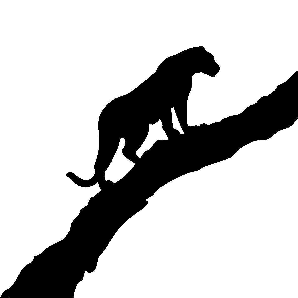 Stickers muraux animaux sticker silhouette tigre ambiance - Felin de la savane ...