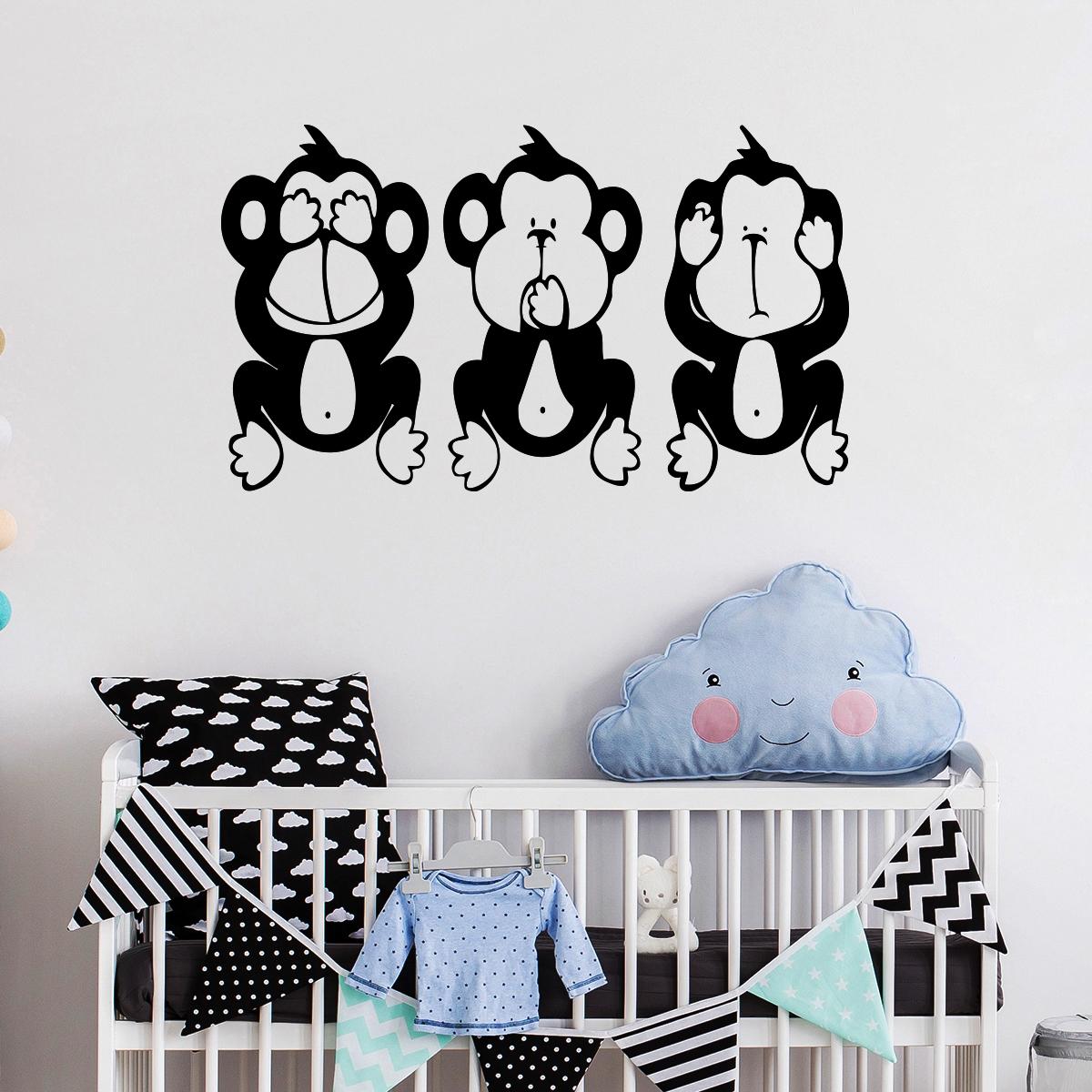 sticker singes de sagesse stickers animaux animaux de la. Black Bedroom Furniture Sets. Home Design Ideas