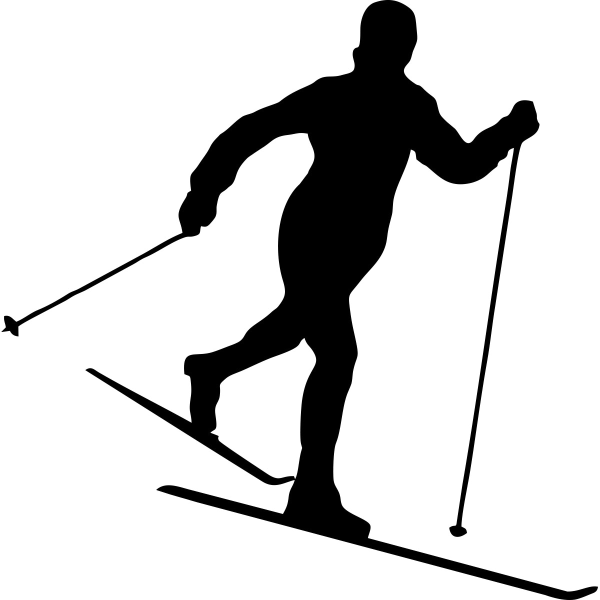 Sticker skieur de fond stickers salon s jour - Ski alpin dessin ...
