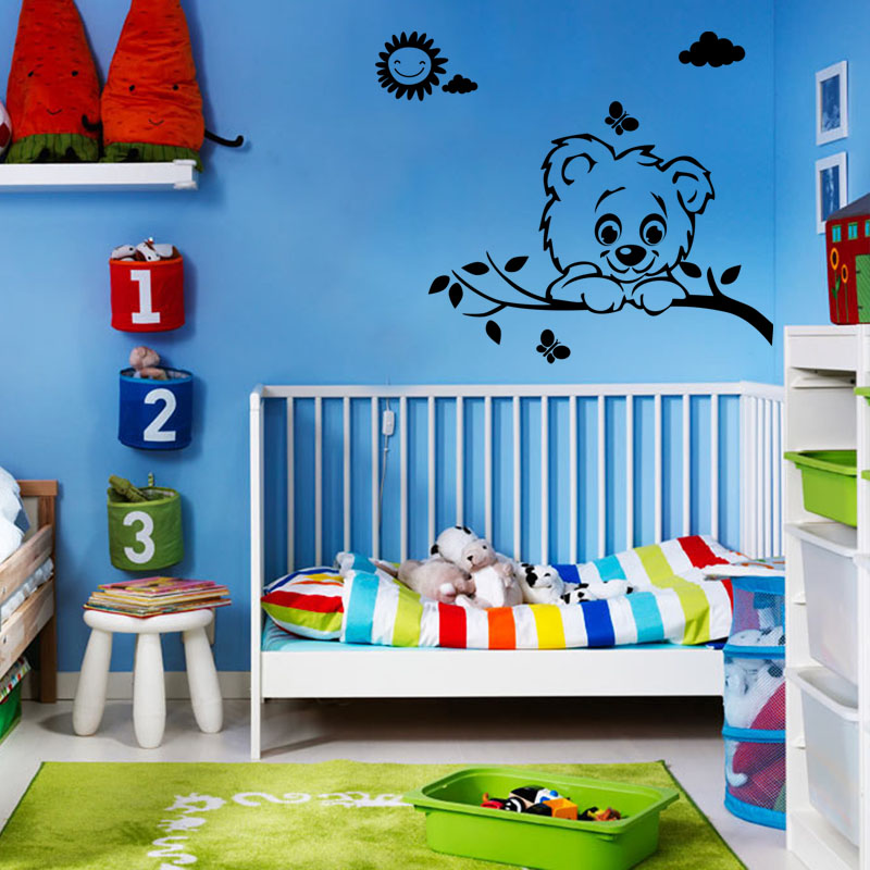 sticker soleil nuage papillon et chien stickers nature. Black Bedroom Furniture Sets. Home Design Ideas