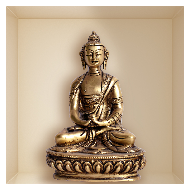 sticker trompe l 39 oeil statue de bouddha. Black Bedroom Furniture Sets. Home Design Ideas
