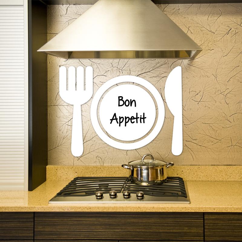 sticker tableau blanc design couverts de table stickers. Black Bedroom Furniture Sets. Home Design Ideas
