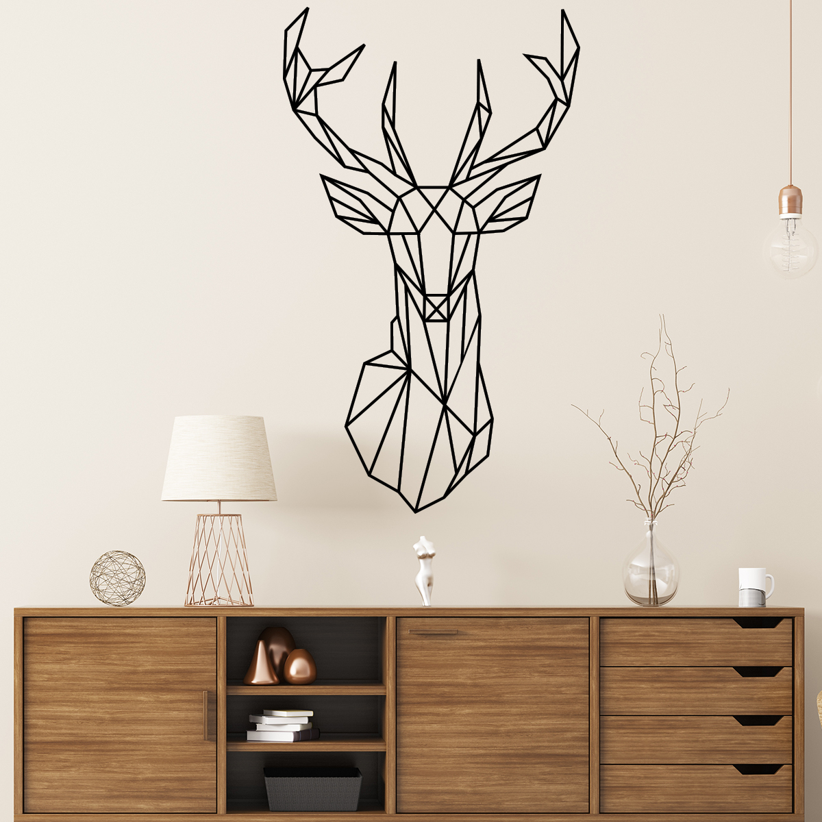 sticker t te de cerf origami stickers art et design artistiques ambiance sticker. Black Bedroom Furniture Sets. Home Design Ideas