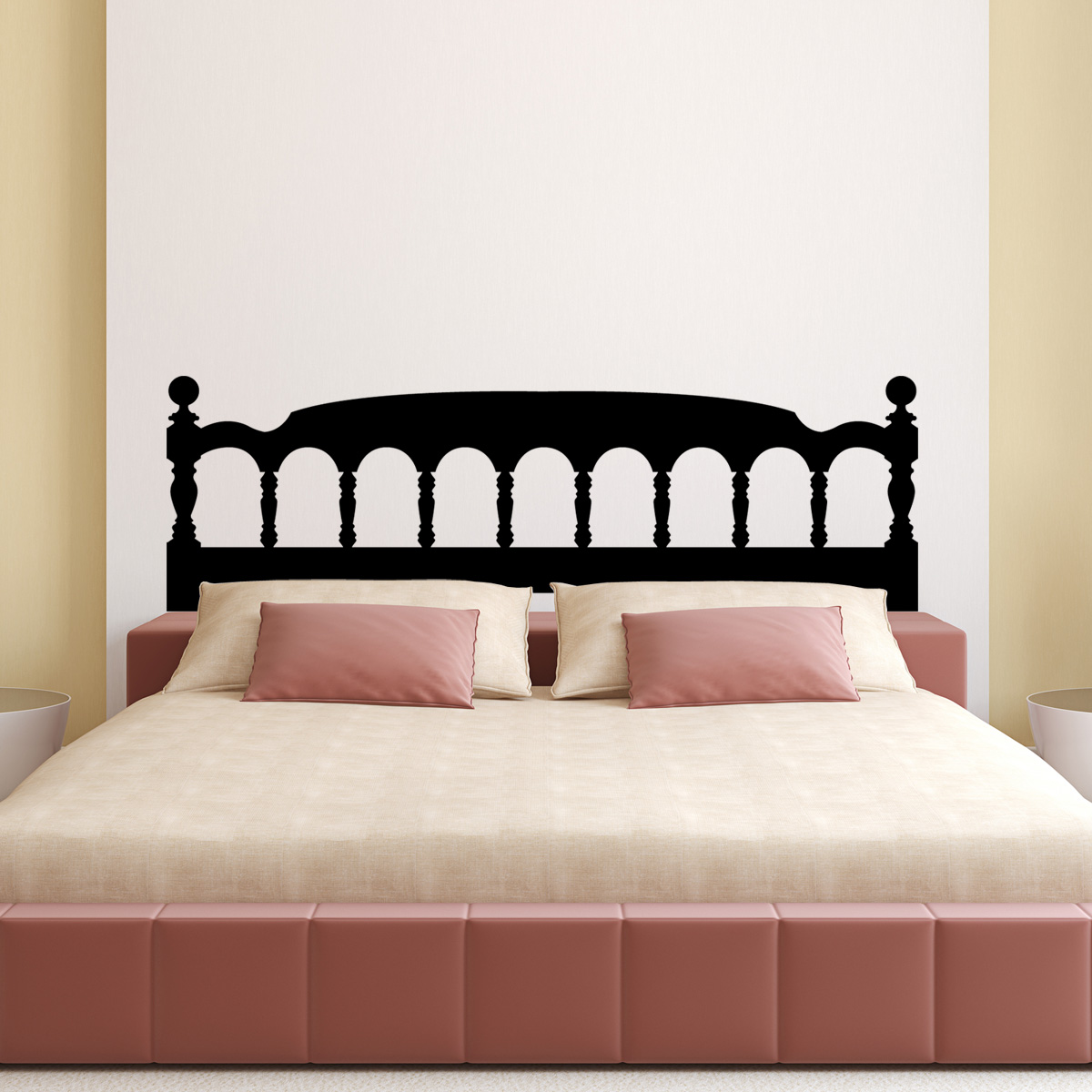 stickers muraux t tes de lit sticker mural t te de lit en bois avec des arcs ambiance. Black Bedroom Furniture Sets. Home Design Ideas