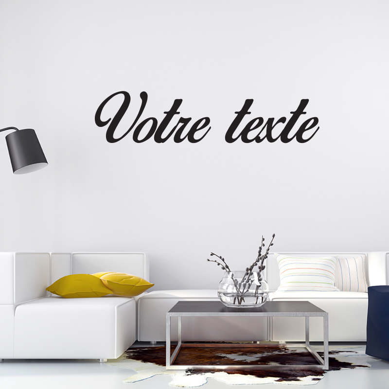 sticker texte personnalis calligraphie romantique stickers texte personnalisable texte. Black Bedroom Furniture Sets. Home Design Ideas