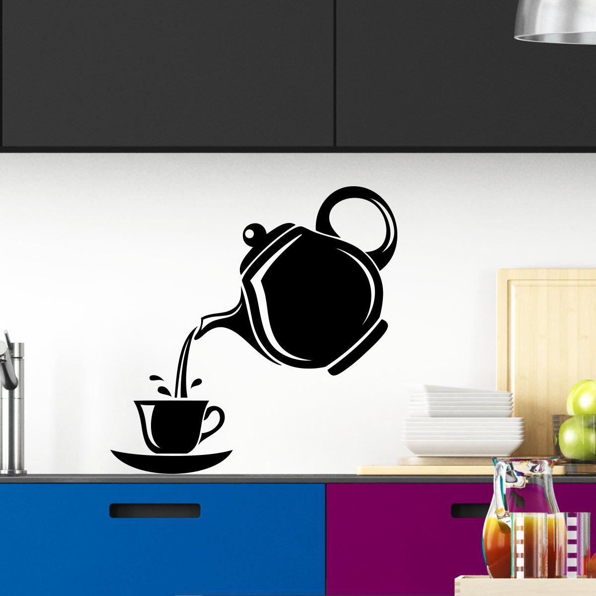 Sticker th i re et tasse stickers muraux pour la cuisine Stickers pour la cuisine