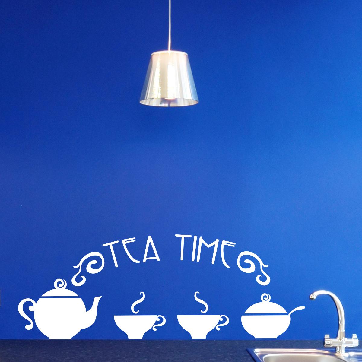 stickers muraux th i re avec tasses. Black Bedroom Furniture Sets. Home Design Ideas