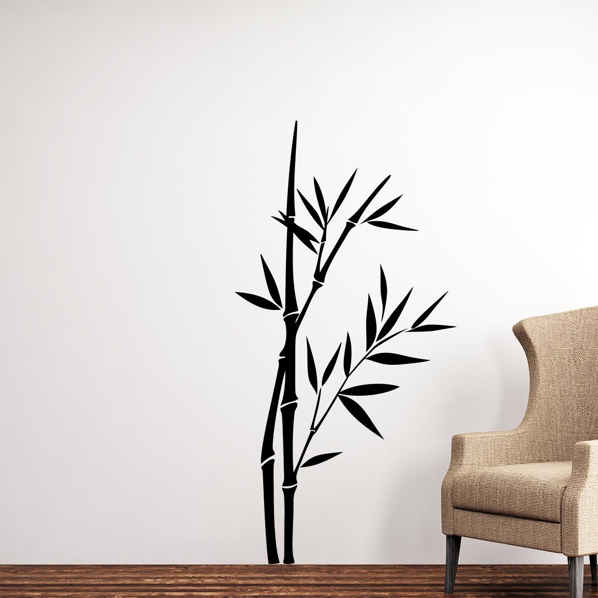 Sticker tiges de bambous crois es stickers nature for Tiges de bambou deco