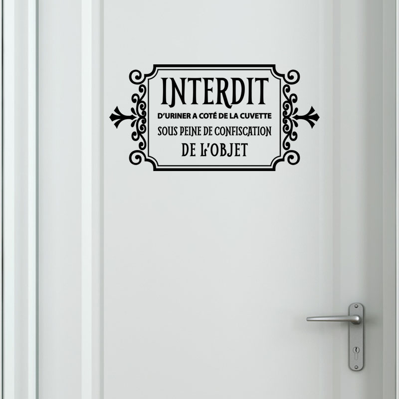 Sticker toilette interdit d 39 uriner stickers toilettes for Stickers pour porte toilettes