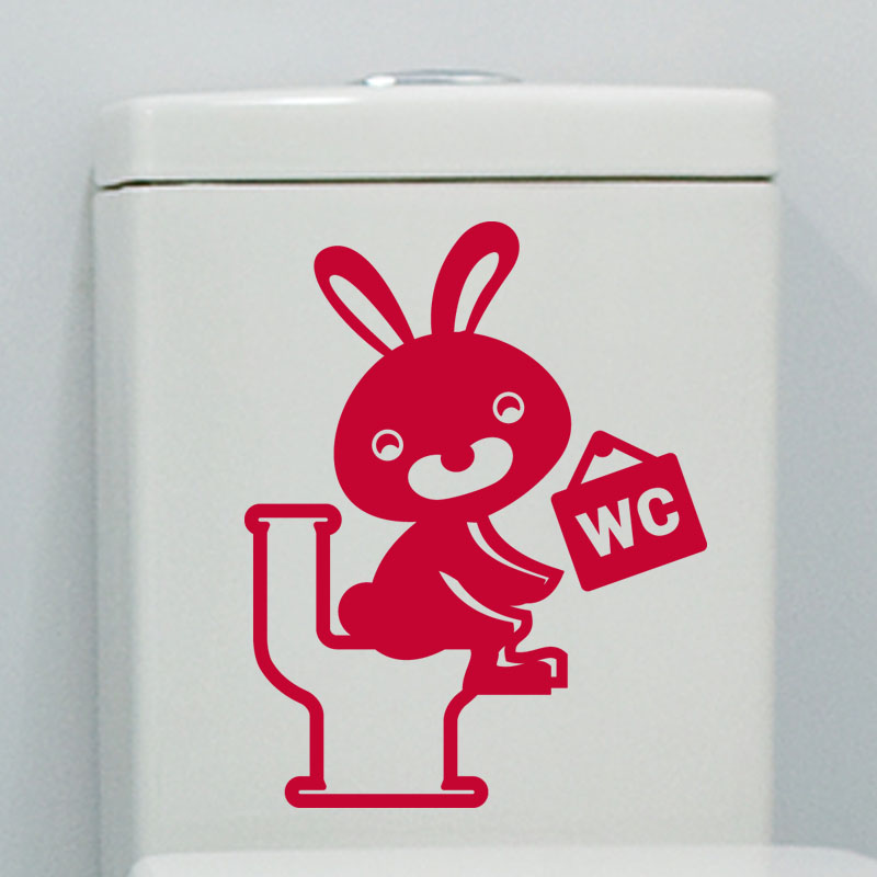 Sticker toilettes lapin rieur stickers toilettes porte for Autocollant porte wc