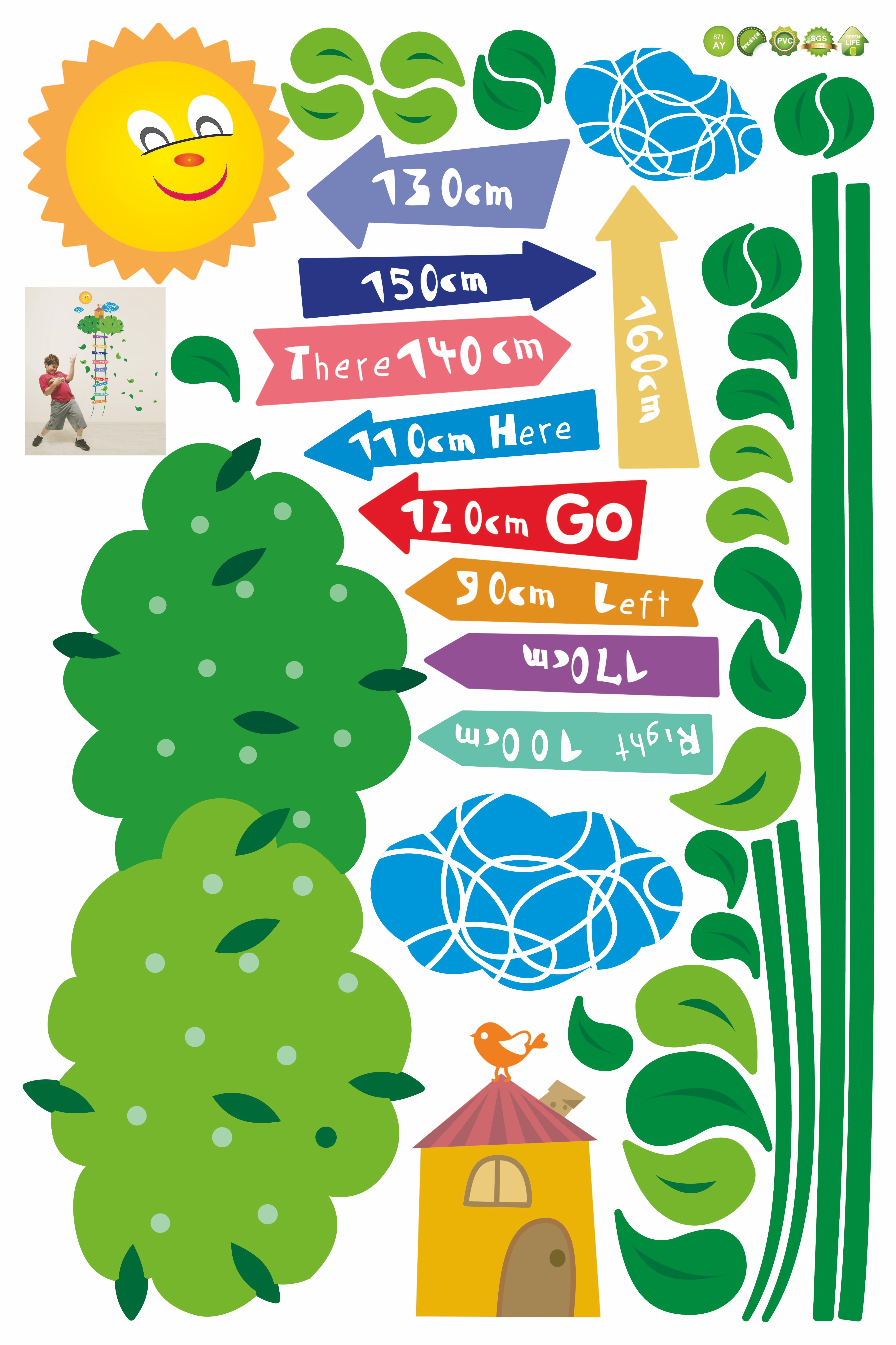 Stickers muraux pour les enfants Sticker toise échelle vers les