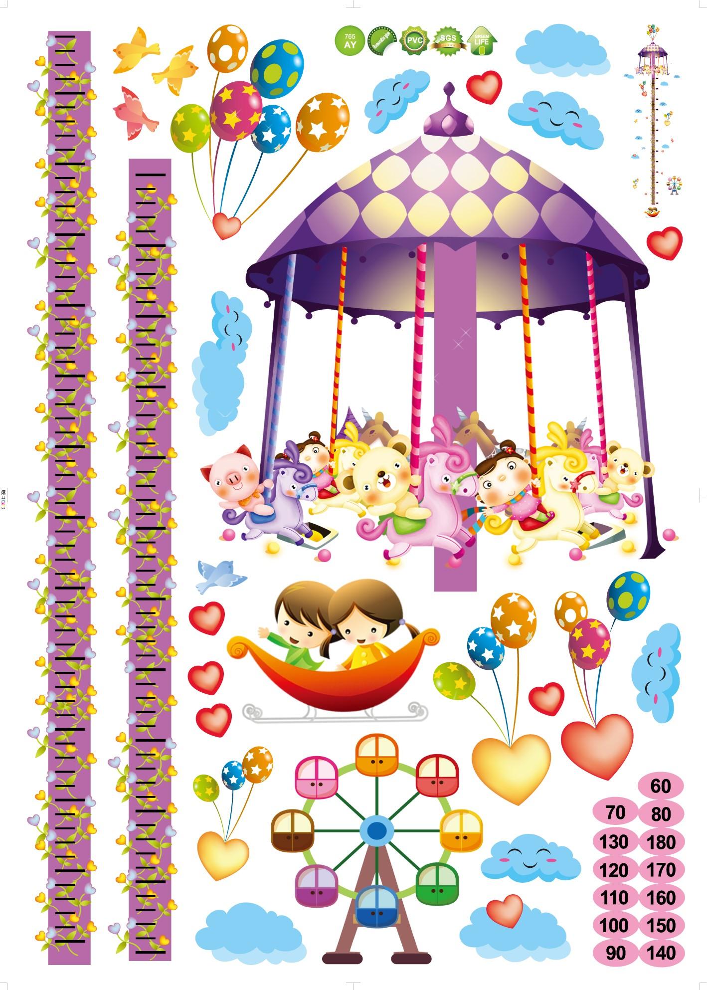 Stickers pour les bébés Sticker toise man¨ge et ballons