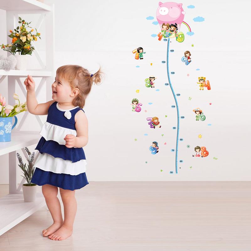 sticker toise montgolfi re avec petits enfants stickers. Black Bedroom Furniture Sets. Home Design Ideas
