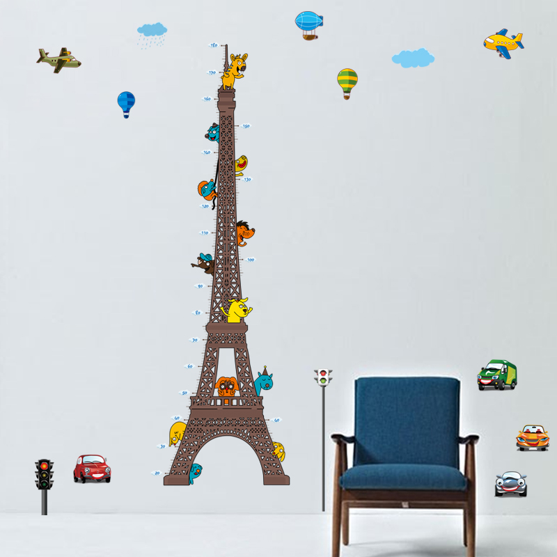sticker toise tour eiffel pour enfants avec animaux et avions stickers animaux animaux de la. Black Bedroom Furniture Sets. Home Design Ideas