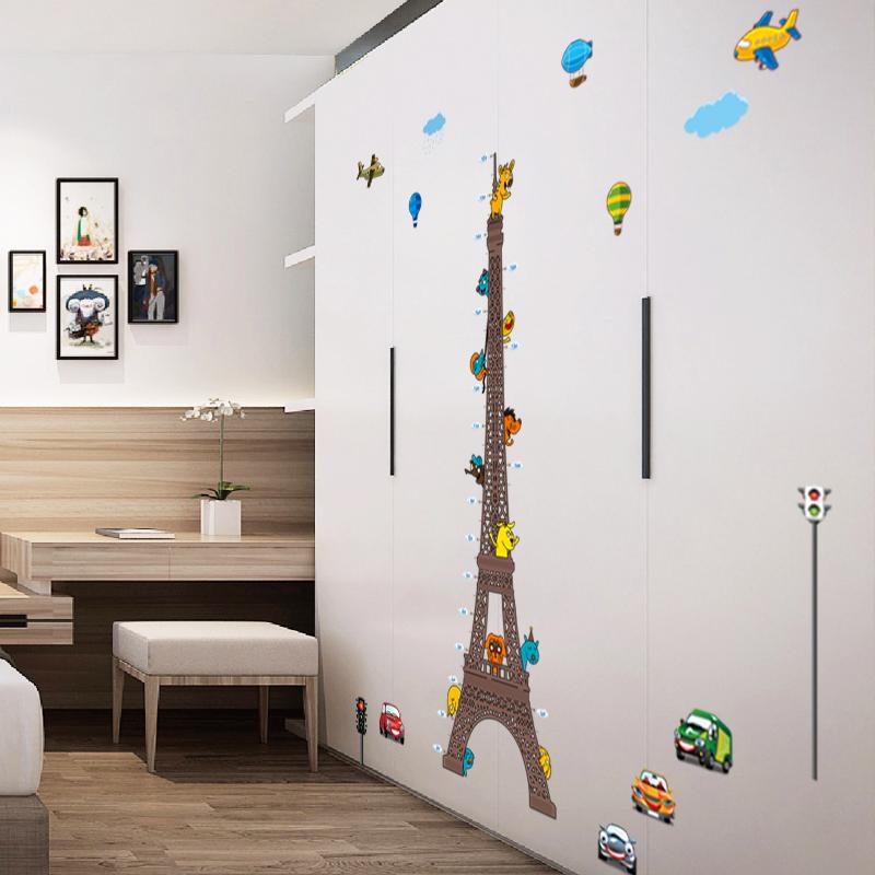 Sticker toise tour eiffel pour enfants avec animaux et for Stickers tour eiffel chambre