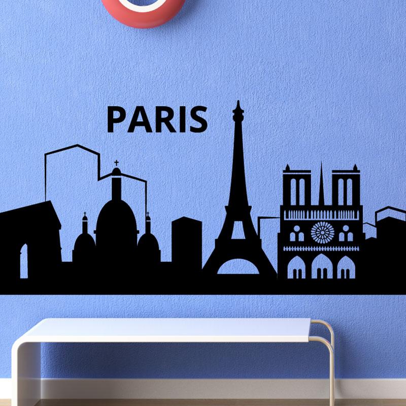 Stickers muraux pays et villes sticker toits de paris ambiance - Stickers muraux paris ...