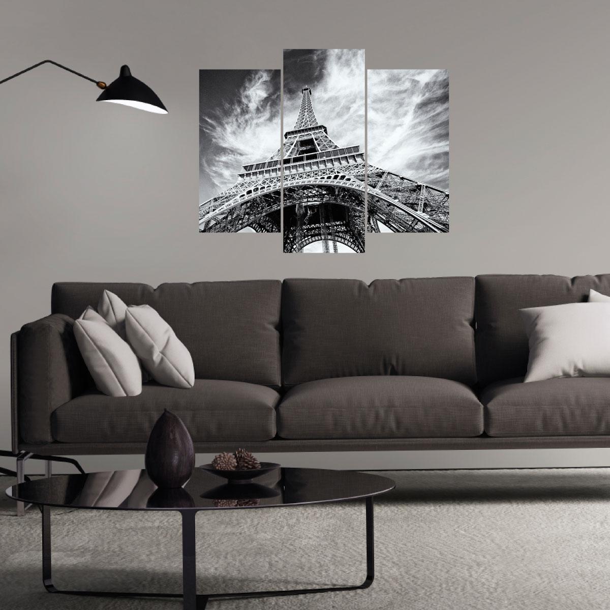Sticker tour eiffel en noir et blanc stickers villes et for Stickers tour eiffel chambre