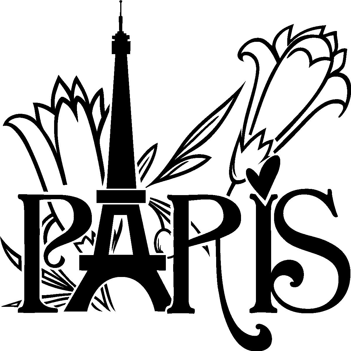 Stickers muraux paris sticker tour eiffel et fleurs ambiance - Stickers muraux paris ...