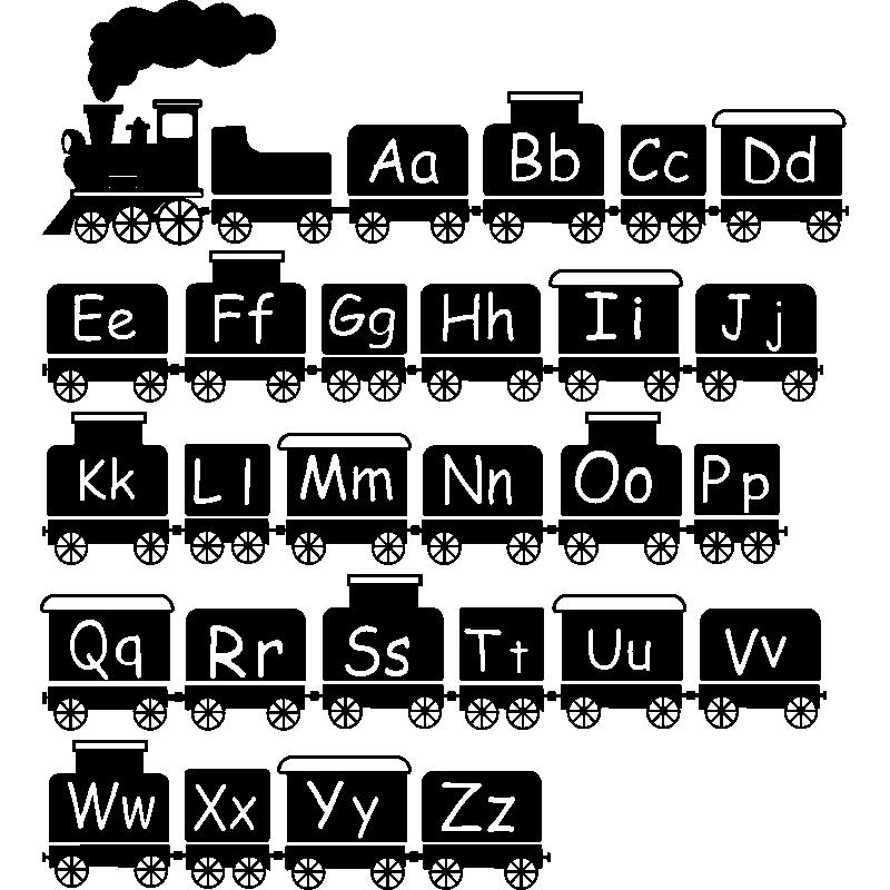 sticker trains alphabet stickers b b s fille ambiance sticker. Black Bedroom Furniture Sets. Home Design Ideas