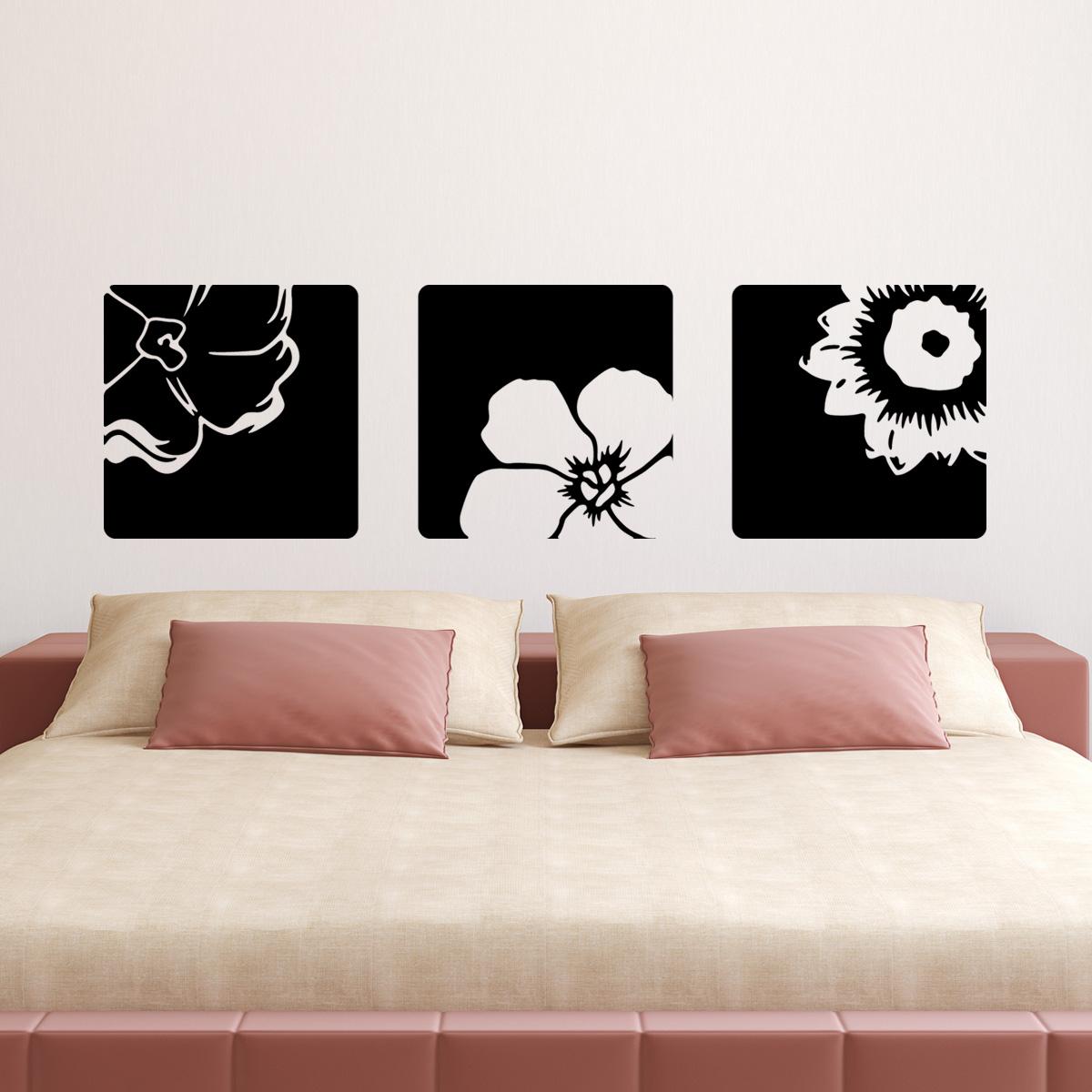 stickers muraux t tes de lit sticker mural trois fleurs ambiance. Black Bedroom Furniture Sets. Home Design Ideas