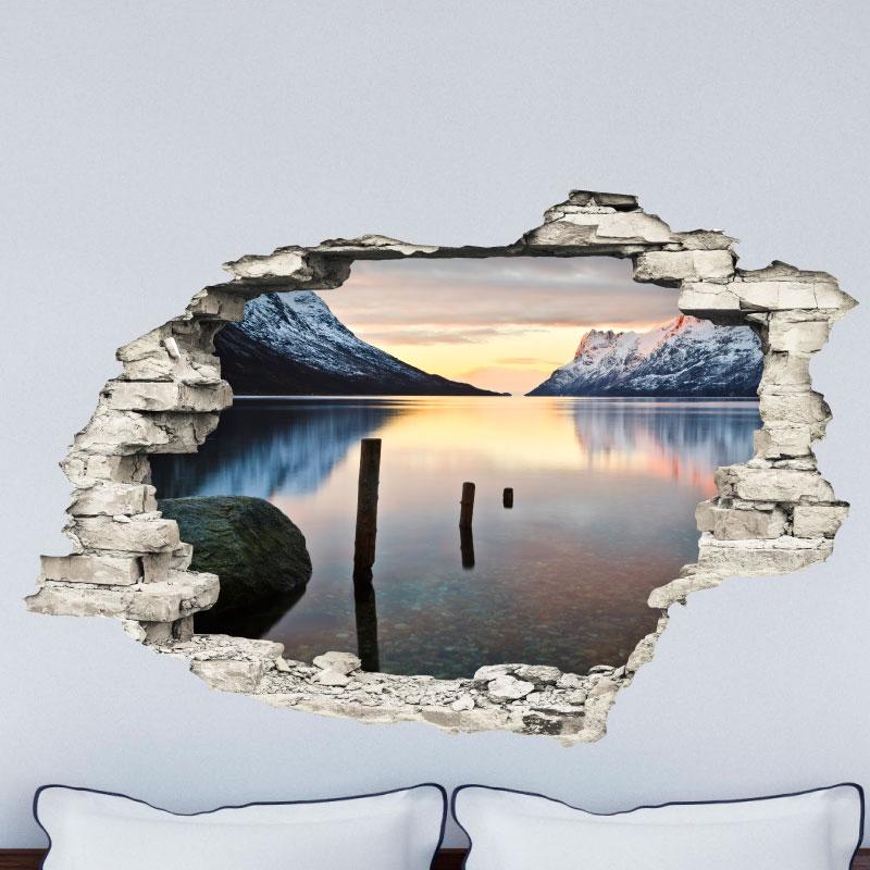 sticker trompe l 39 il paysage paradisiaque lac et montagnes stickers art et design ambiance. Black Bedroom Furniture Sets. Home Design Ideas