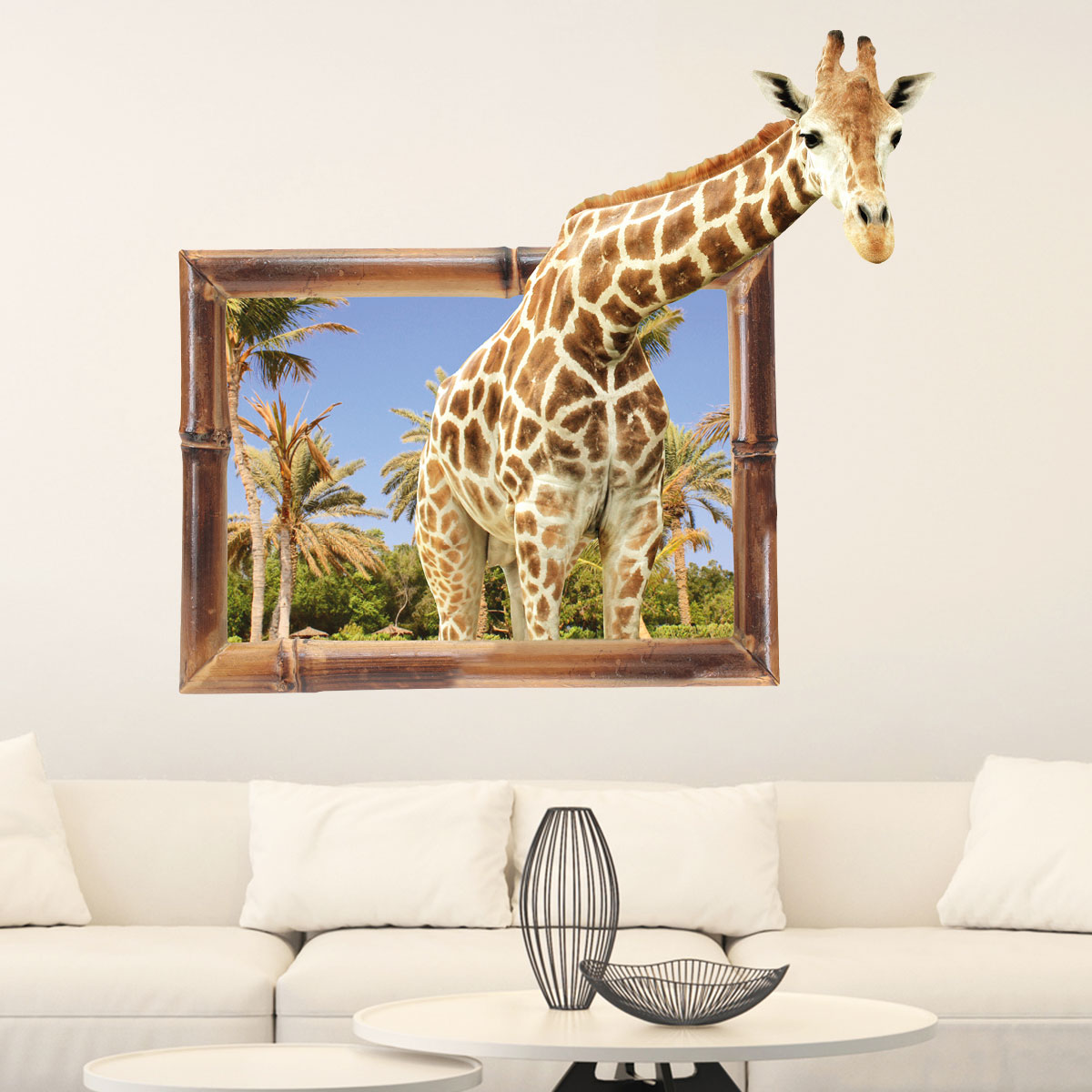 sticker trompe l 39 oeil animaux girafe stickers salon design ambiance sticker. Black Bedroom Furniture Sets. Home Design Ideas