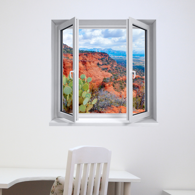 sticker trompe l 39 oeil paysage d sert de l 39 arizona. Black Bedroom Furniture Sets. Home Design Ideas