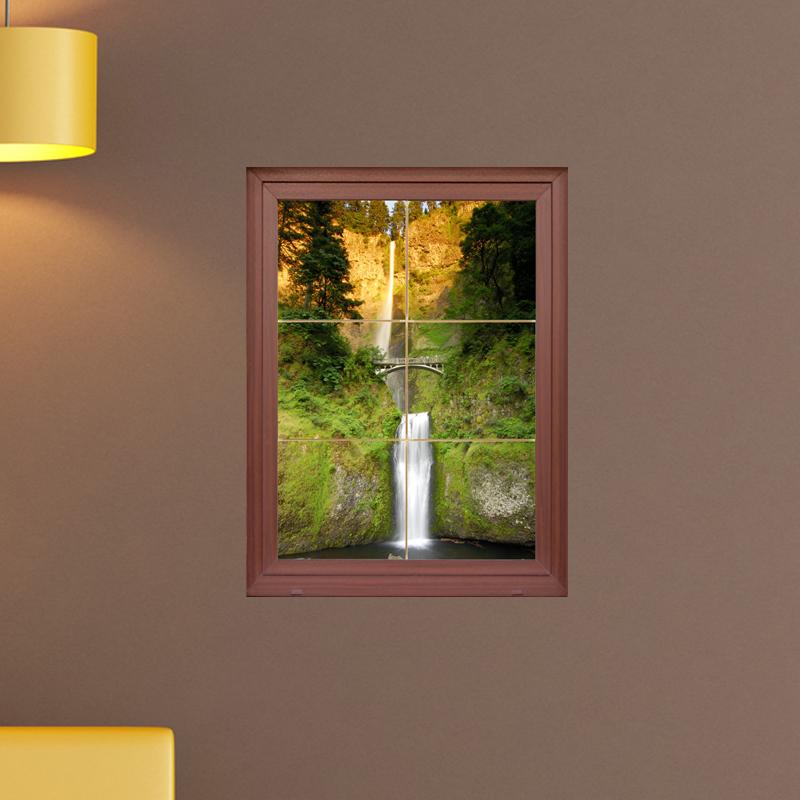 Sticker muraux trompe l 39 oeil sticker mural double cascade ambiance - Stickers muraux trompe l oeil ...