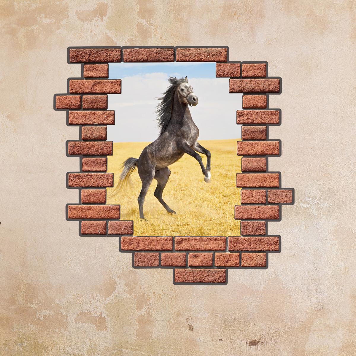 sticker muraux trompe l 39 oeil sticker mural cheval dans la trame de briques ambiance. Black Bedroom Furniture Sets. Home Design Ideas