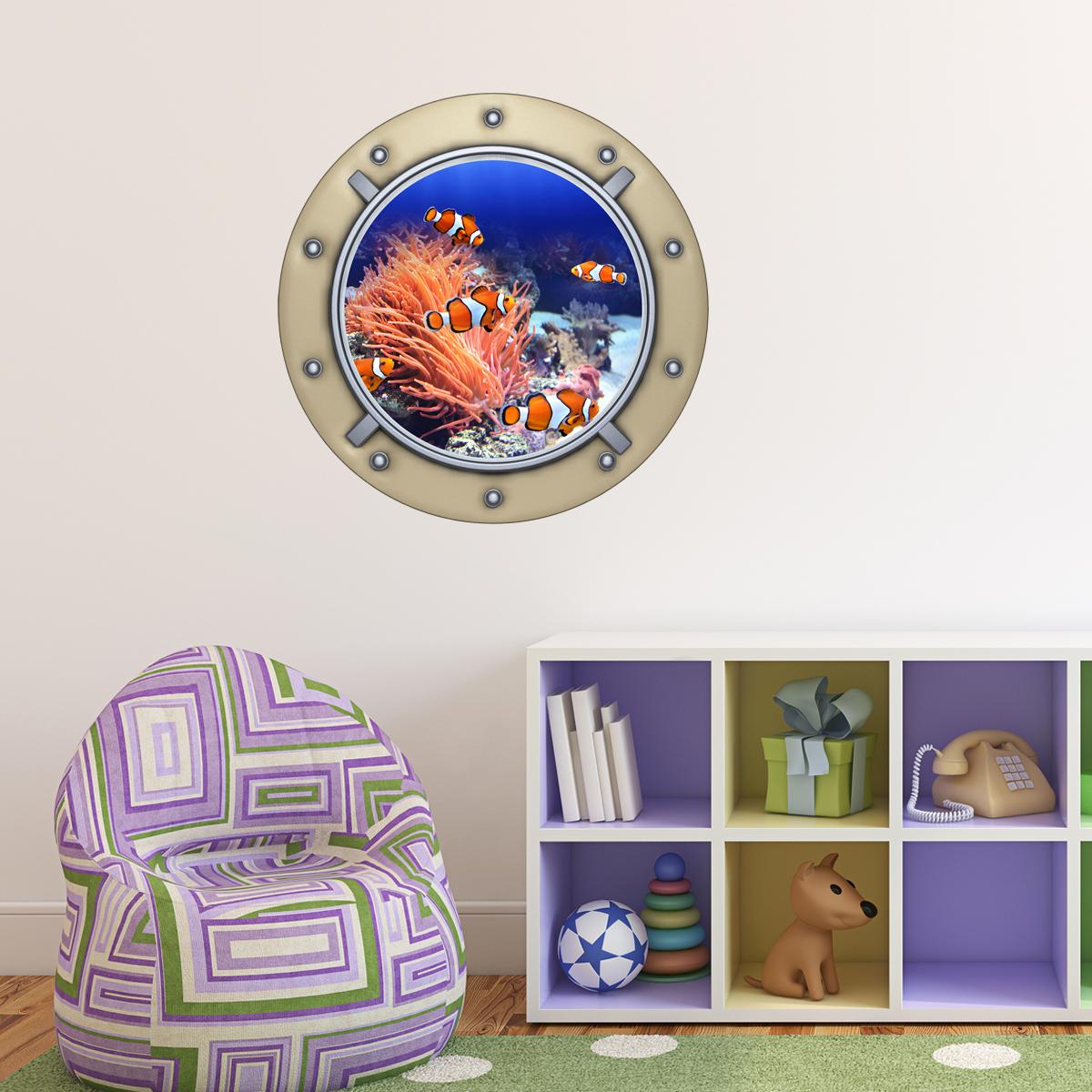Sticker muraux trompe l 39 oeil sticker mural clowns poissons ambiance - Stickers muraux trompe l oeil ...