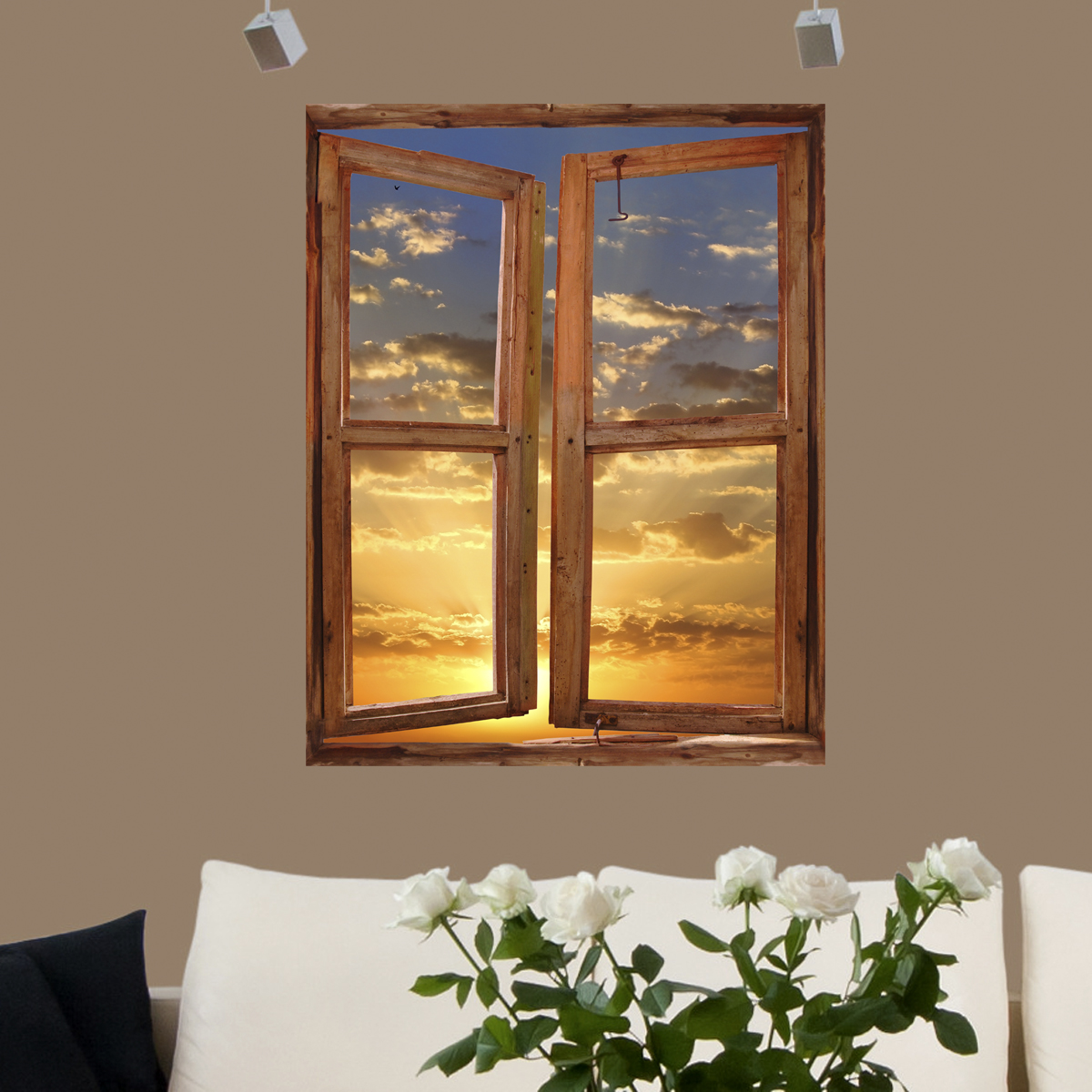 sticker muraux trompe l 39 oeil sticker mural coucher de soleil dans un cadre vertical ambiance. Black Bedroom Furniture Sets. Home Design Ideas