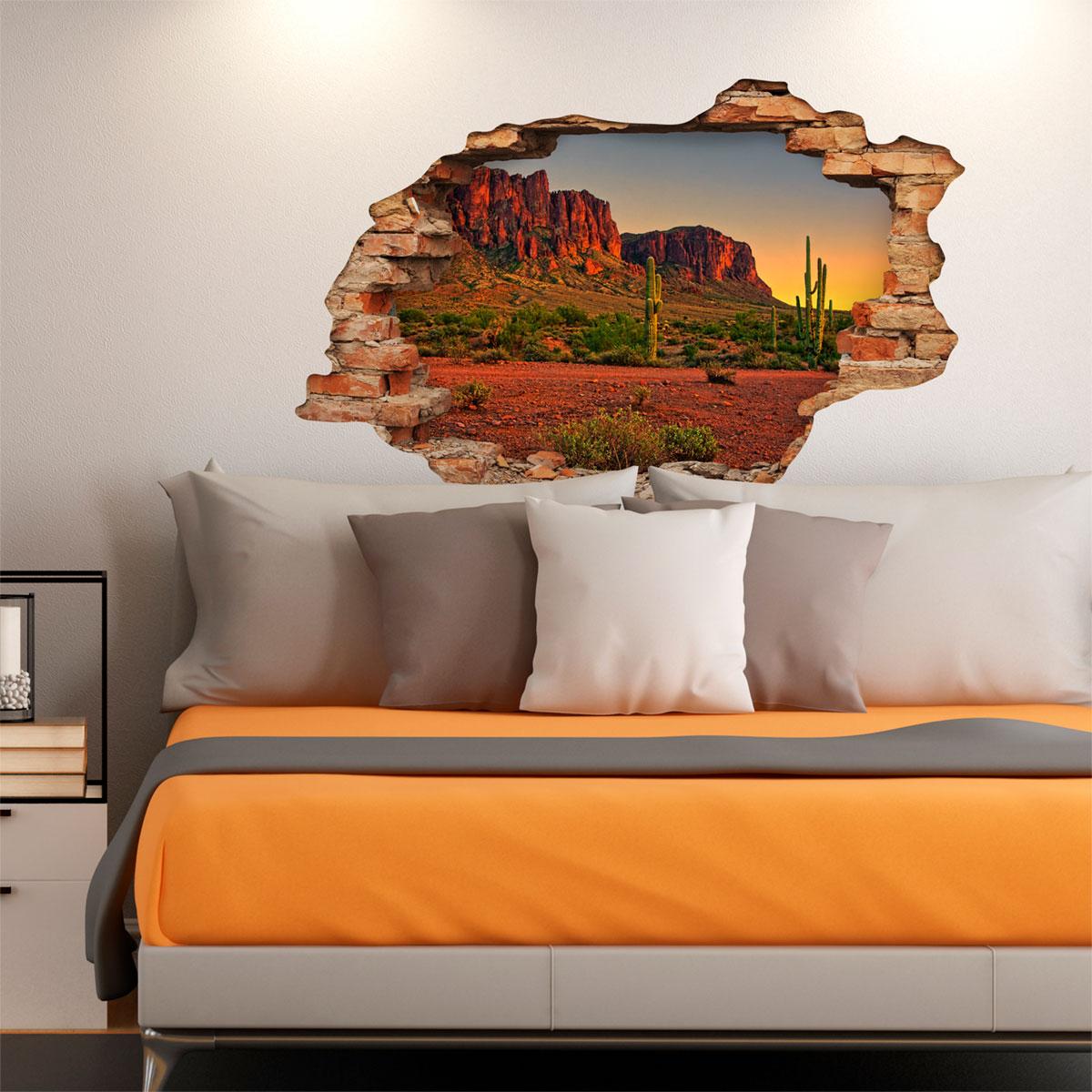 sticker trompe l 39 oeil d sert du nevada stickers nature arbres ambiance sticker. Black Bedroom Furniture Sets. Home Design Ideas