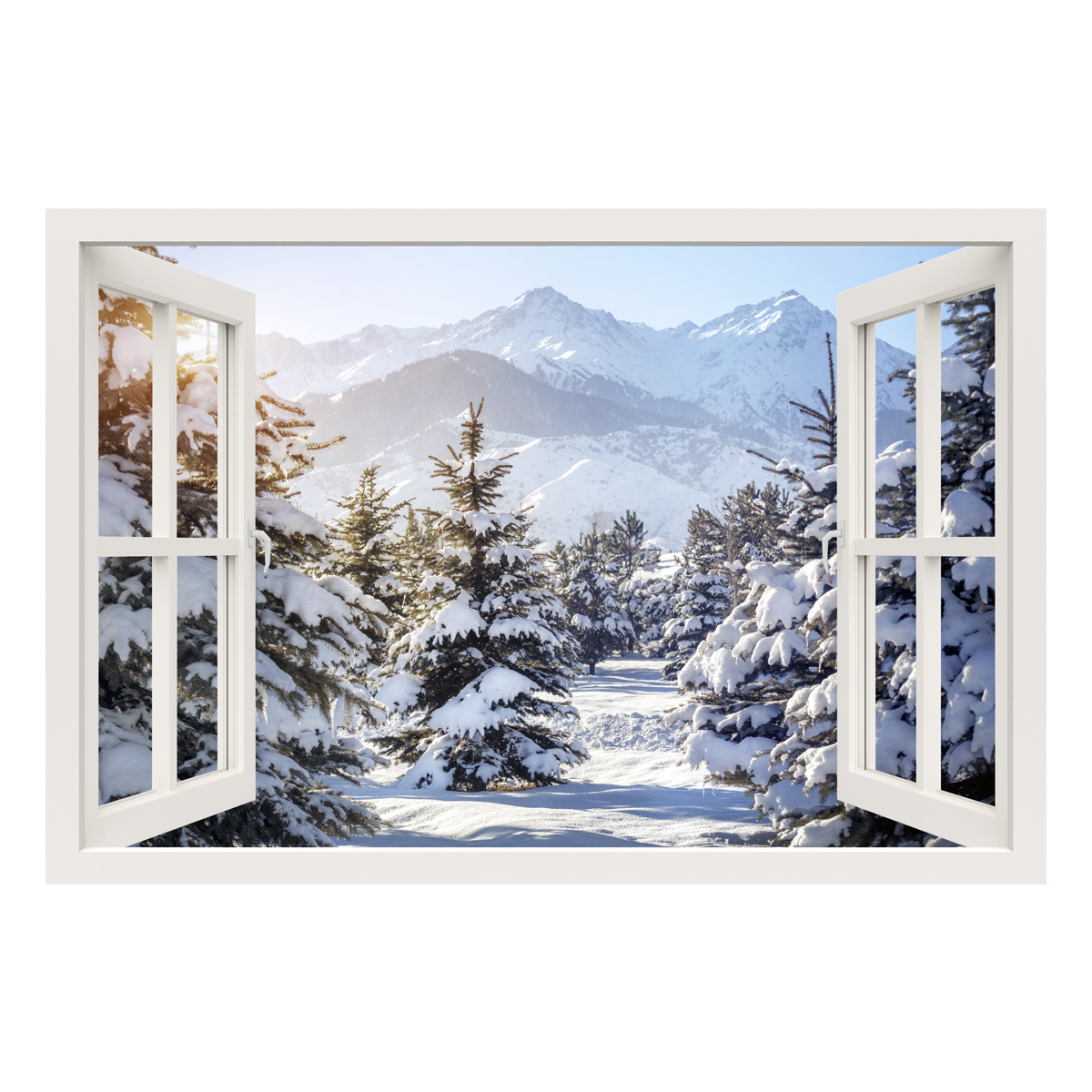 sticker muraux trompe l 39 oeil sticker mural ensoleill hiver montagnes ambiance. Black Bedroom Furniture Sets. Home Design Ideas