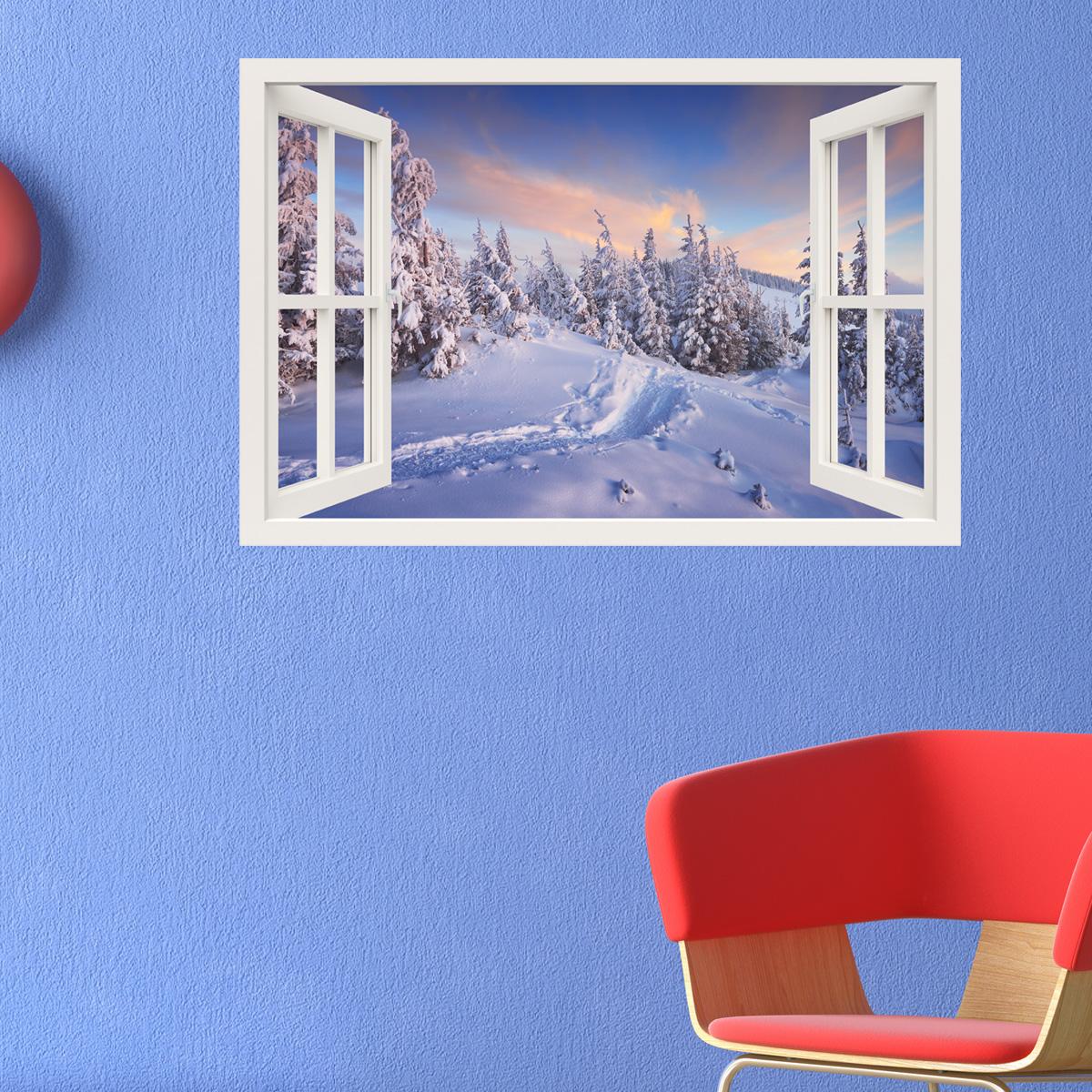Sticker Muraux Trompe L 39 Oeil Sticker Mural F E D 39 Hiver Ambiance