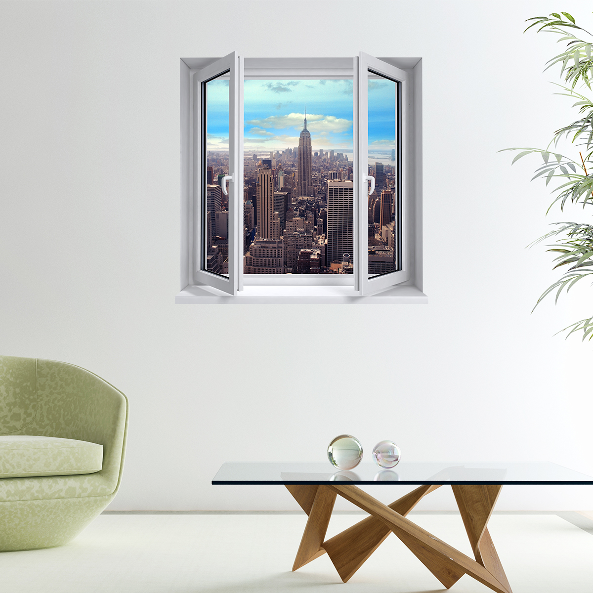 sticker trompe l 39 oeil gratte ciel de new york. Black Bedroom Furniture Sets. Home Design Ideas