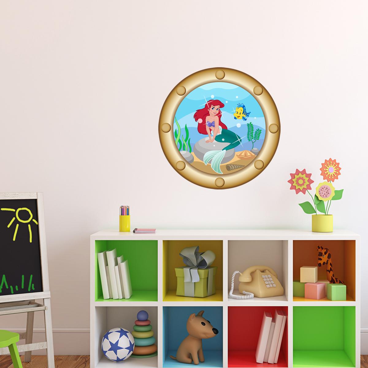 Sticker muraux trompe l 39 oeil sticker mural hublot avec sir ne ambiance - Stickers muraux trompe l oeil ...