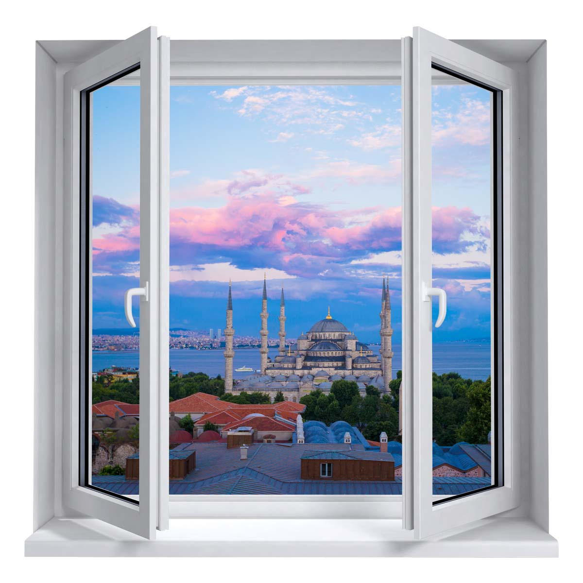 sticker muraux trompe l 39 oeil sticker mural istanbul paysage ambiance. Black Bedroom Furniture Sets. Home Design Ideas