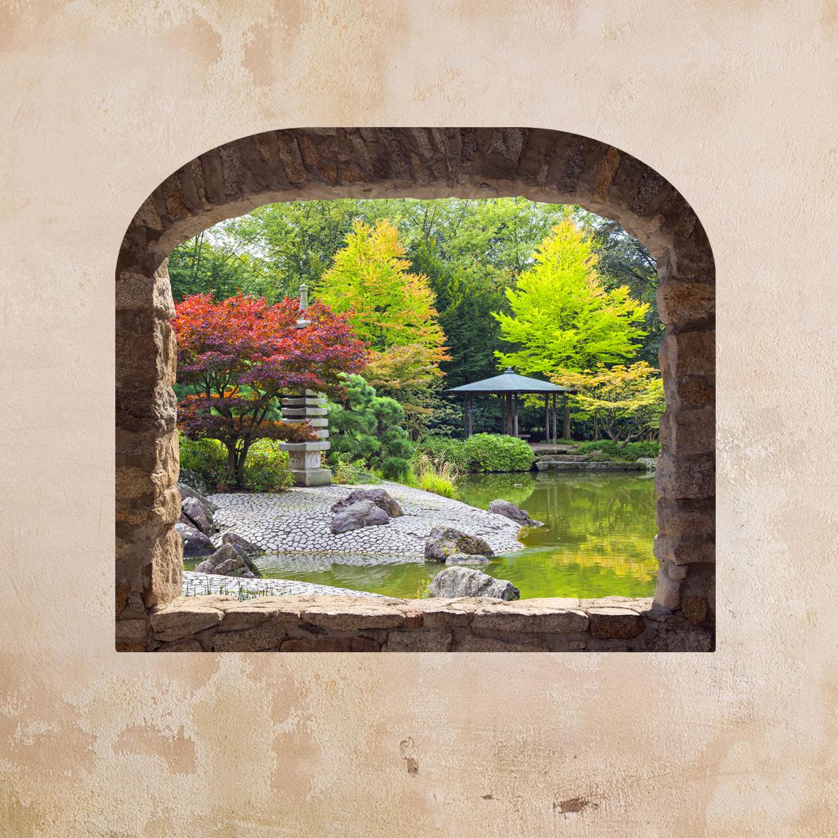 Sticker muraux trompe l\'oeil - Sticker mural Jardin japonais ...