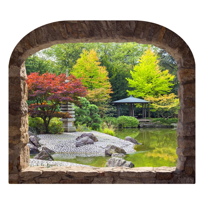 sticker muraux trompe l 39 oeil sticker mural jardin japonais ambiance. Black Bedroom Furniture Sets. Home Design Ideas