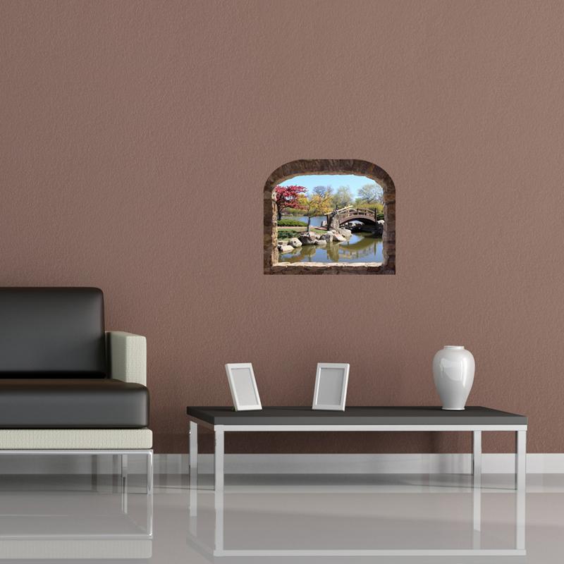 sticker trompe l 39 oeil jardin japonais. Black Bedroom Furniture Sets. Home Design Ideas